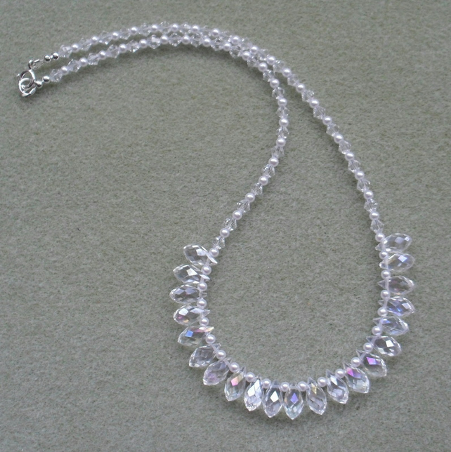 Sparkle Crystal Necklace With Glass Crystals and Pearls
