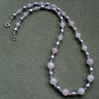 Rose Quartz Freshwater Pearls Crystals from Swarovski Sterling Silver Necklace