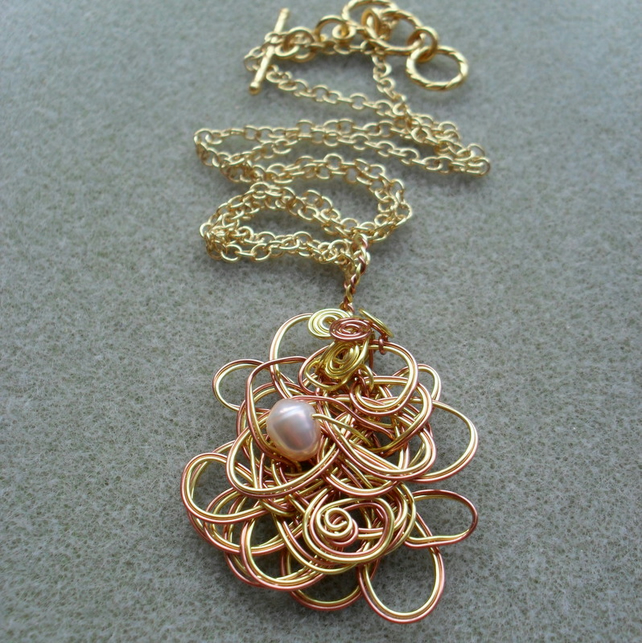 Wire Pendant With Freshwater Pearl Wire Wrapped