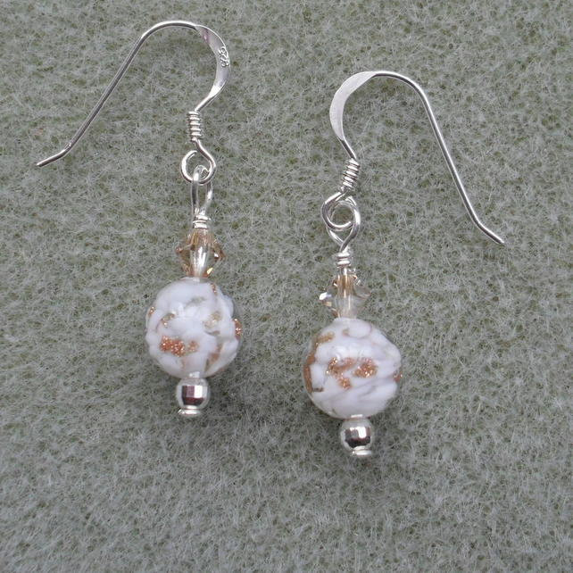 Sterling Silver Murano Glass Drop Earrings