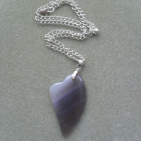 Grey Heart Shaped Agate Pendant Silver Plated Necklace