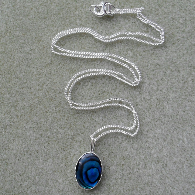 Blue Abalone Shell Sterling Silver Necklace