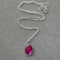 Deep Pink Abalone Shell Sterling Silver Necklace