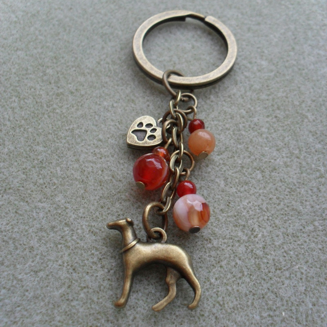 Greyhound Dog Keyring With Agate Beads