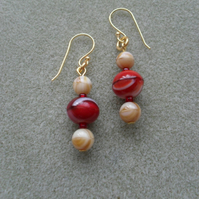 Red and Toffee Tone Gold Plated Earrings