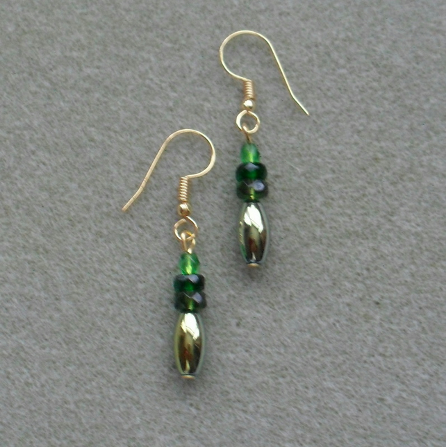 Coated Haematite and Green Czech Glass Drop Earrings Christmas