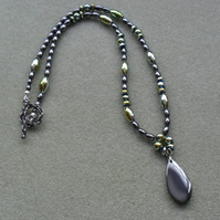 Haematite Drop Necklace Beaded Necklace
