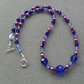 Purple and Shades of Blue Glass Beaded Necklace