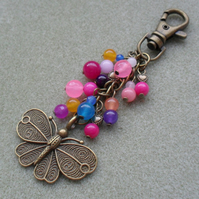 Colourful Butterfly Bag Charm With Semi Precious Gemstones
