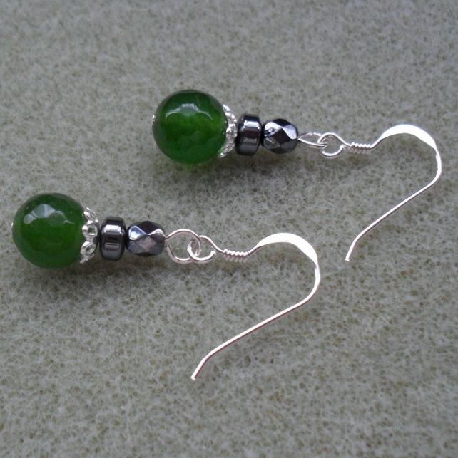 Sterling Silver Green Quartz Drop Earrings
