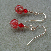 Red Venetian Murano Glass Gold Filled Earrings Valentines Gift
