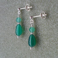 Green Onyx and Agate Drop Sterling Silver Earrings
