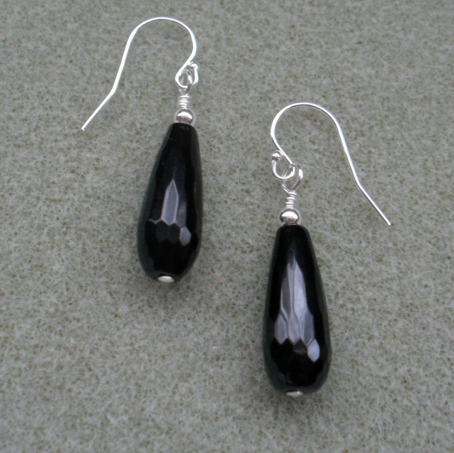 Black Onyx Faceted Drop Earrings Sterling Silver Black and Silver Earrings