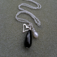 Sterling Silver Black Onyx Drop Pendant With Heart Charm