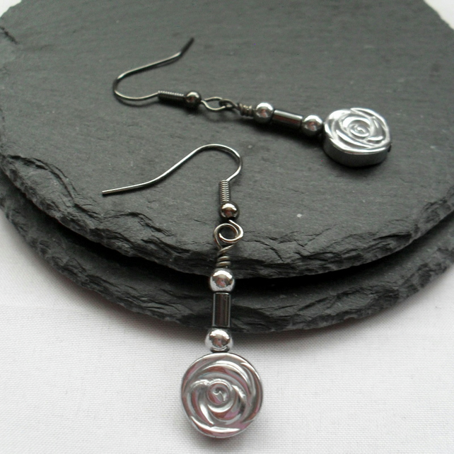 Haematite Flower Drop Earrings Dangle Earrings