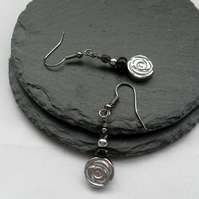 Haematite Flower Earrings With Black Agate Drop Earrings