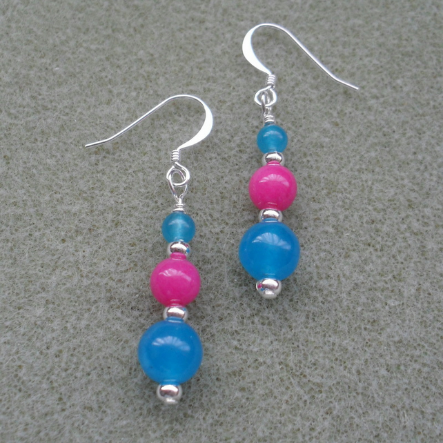 Quartz dangle Earrings Blue and Deep Pink Silver Plated