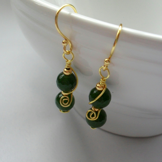 Green Quartz Wire Wrapped Gold Plated Drop Earrings