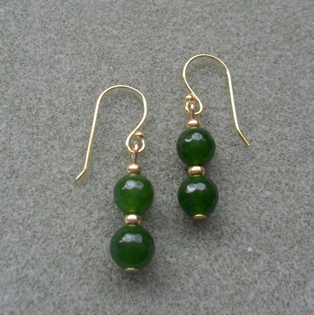 Green Quartz Dangle Earrings Gold Plated Earrings