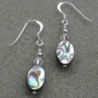 Abalone Shell and Crystals From Swarovski Earrings