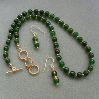 Green Dyed Quartz Necklace and Earrings Gold Plated Green Necklace