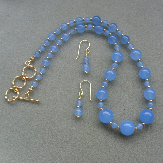 Blue Dyed Quartz Gold Plated Necklace Gold and Blue Necklace