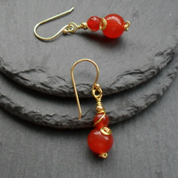 Orange Quartz and Agate Drop Earrings Gold Plate
