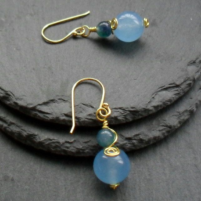 Blue and Green Dyed Quartz Gold Plated Earrings