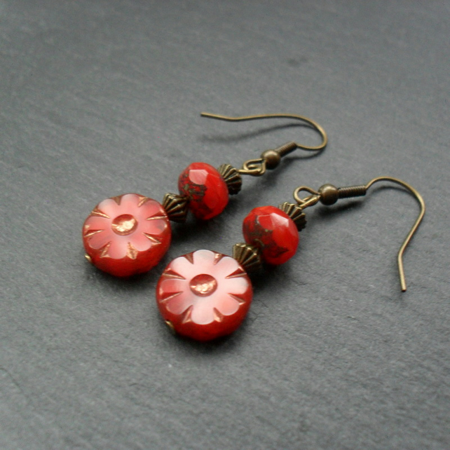 Red Czech Glass Drop Earrings Flower Earrings
