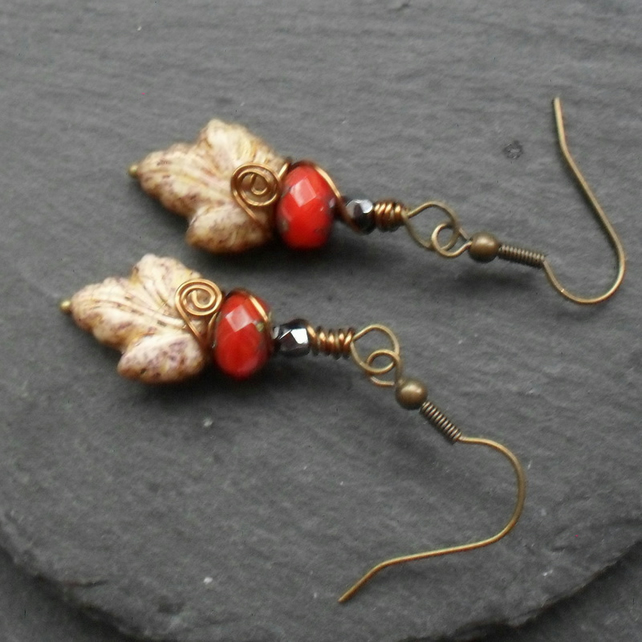 Czech Glass Leaf Earrings Wire Wrapped