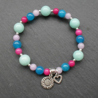 Spring Colours Semi Precious Gemstone Stretch Bracelet