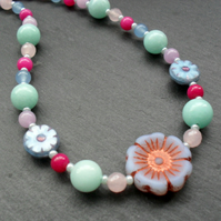 Spring Colours Necklace With Semi Precious Gemstones Sterling Silver