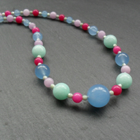Colourful Semi Precious Gemstone Necklace Sterling Silver