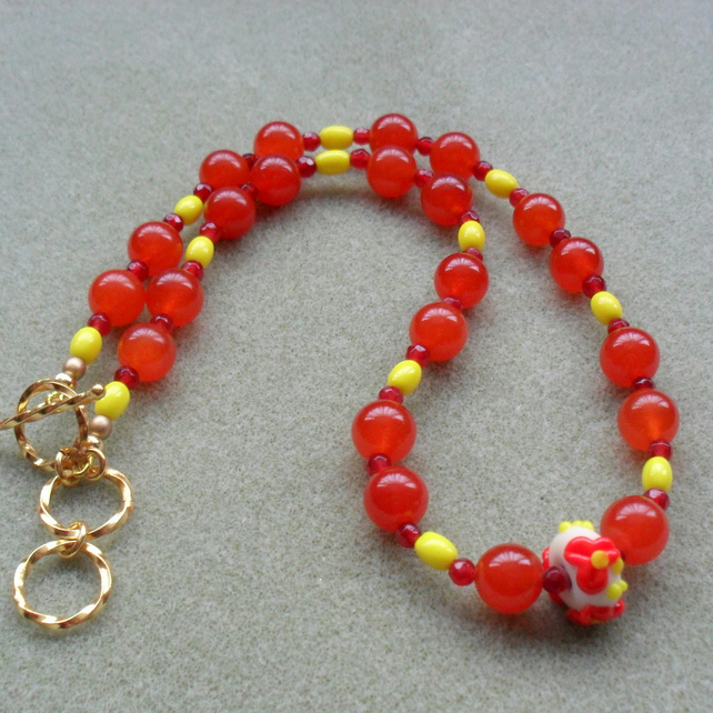 Colourful Orange and Yellow Glass and Semi Precious Gemstone Necklce