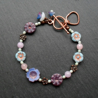 Flower Bracelet Pastel Colours Czech Glass