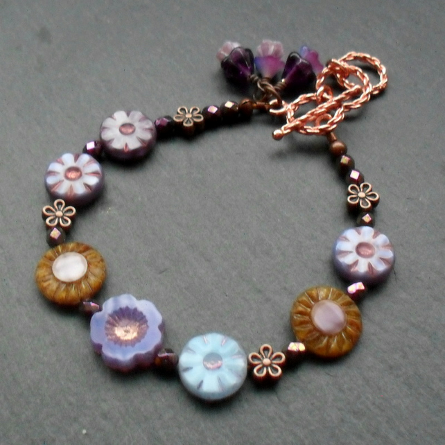 Purple and Blue Czech Glass Flower Beaded Bracelet