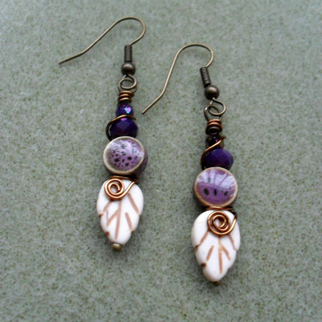 Leaf Earrings Purple Ceramic Beads Vintage Earrings