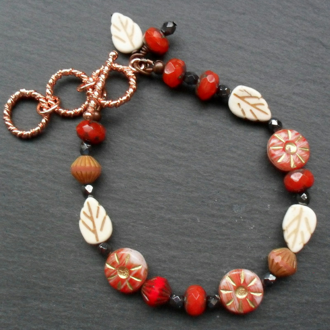 Flower and Leaf Bracelet Red with Rose Gold Plated Clasp