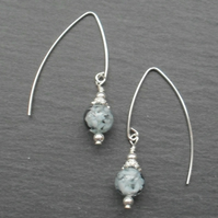 Murano Glass Sterling Silver Earrings on V Shaped Ear Wires Drop Earrings