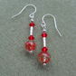 Sterling Silver Red Earrings With Murano Glass Dangle Earrings