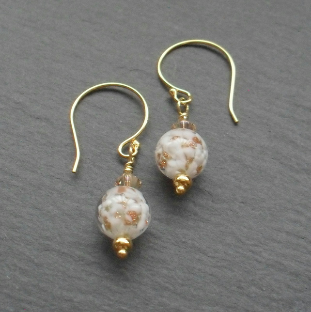 Gold Vermeil Murano Glass Dainty Drop Earrings
