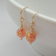 Murano Venetian Glass earrings Gold Filled Dainty Drop Earrings