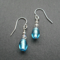Aqua Blue Murano Glass Sterling Silver Drop Earrings