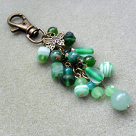 Green Butterfly Bag Charm Bronze Tone