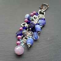 Blue and Lilac Bag Charm With Amethyst Semi Precious Gemstone