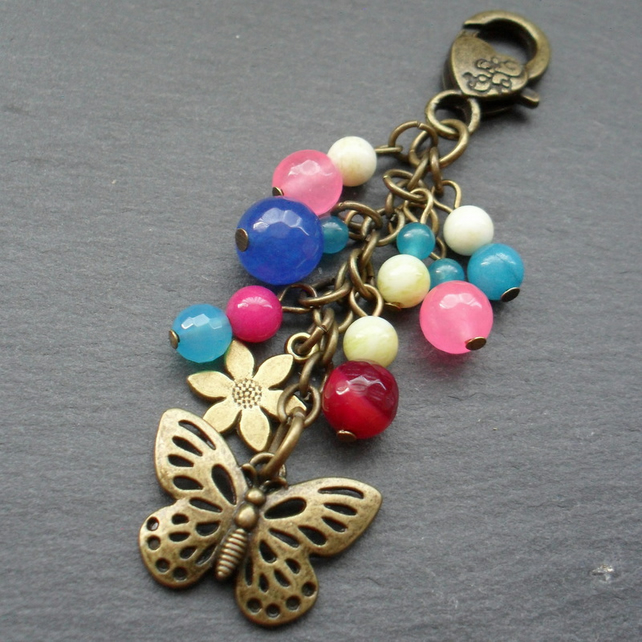 Colourful Semi Precious Gemstone Bag Charm With Butterfly Charm