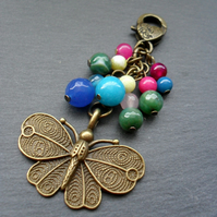 Butterfly Bag Charm with semi Precious Gemstones Colourful