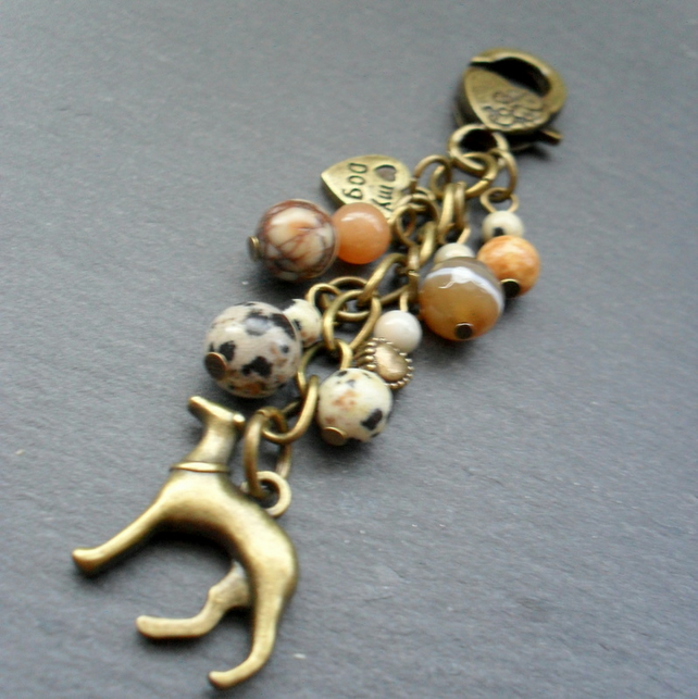 Bronze Greyhound Dog Charm With Semi Precious Gemstones