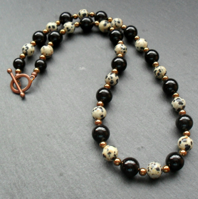 Black Onyx and Dalmatian Jasper Necklace