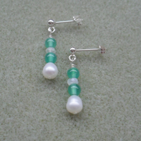 Dainty Drop Pearl and Semi Precious Gemstone Sterling Silver Earrings